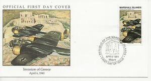 50th Ann WWII Comm/FDC - Marshall Isles - Invasion of Greece -1991 (2441)Z