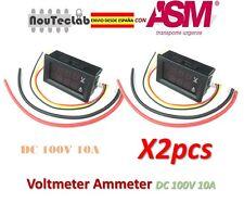 2pcs DC 100V 10A Voltmeter Ammeter Blue + Red LED Amp Dual Digital DC Volt Meter