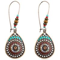 Bohemian Ethnic Style Hollow Pendant Earrings Wooden Beads Natural Stone Crys JI