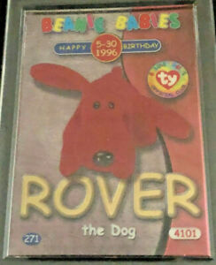 TY BEANIE BABIES CARD S2 GOLD B'DAY ROVER, #27/100,1999, MINT IN HOLDER