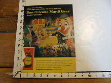 Vintage Puppet Marionette paper: old Mardi Gras big PUppet head ad for Molasses