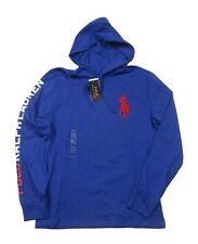 Polo Ralph Lauren Mens Blue Red Big Pony Hoodie L/s Cotton T-shirt Size M