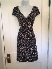 ANN TAYLOR LOFT Sz S Stretch Wrap Dress Black Camo Flattering Career
