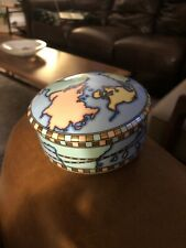 Vintage Tiffany & Co Ceramic WORLD MAP TRINKET BOX Porcelain.