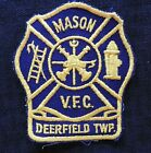 """1960's """"MASON V.F.C VOLUNTEER FIRE COMPANY"""" DEERFIELD TOWNSHIP OH OHIO PATCH for sale"""