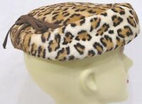 Vintage Ladies Hat FAUX Big Cat Print Narrow Grosgrain Ribbon 1950s