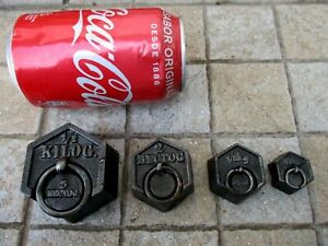 Antique or Vintage Lot 4 in Cast Iron Scale Weights Nice Hexagonal Shape