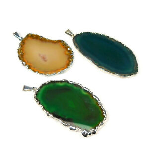 Agate Slice Pendant Lot (Set of 3) Silver Crystal Slabs Jewelry Collection R33C