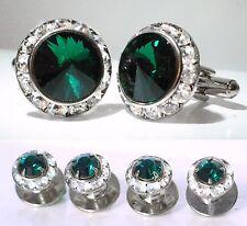 Emerald Tuxedo Round Cufflinks & Studs Set Made With Swarovski Crystals