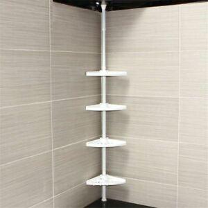 Telescopic Adjustable White 4 Tier Corner Bathroom Shelf Organiser Shower Caddy