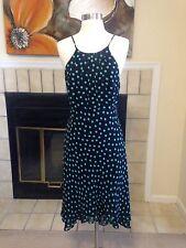NINE WEST Black Silk Flirty Turquoise Polka Dot Sun Swing Dress Size 4