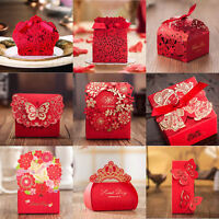 2017 Red Theme Gilding Butterfly Wedding Favour Boxes Party Gift Bags Ribbons