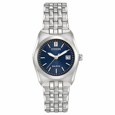 Ladies Citizen Eco-Drive Silver Stainless Steel Blue Dial Date Watch EW2290-54L