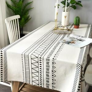 Linen Tablecloth Thick Oblong Dustproof Dining Table Cover Birthday Decor