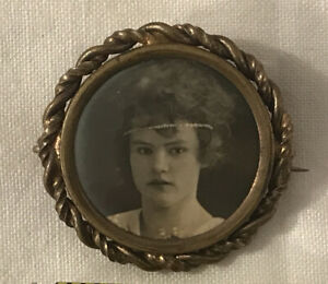 Antique MOURNING Photo Pin Back Button Brooch VICTORIAN GIRL Woman