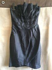 H&M black fully lined faux wrap asymmetric bandeau evening dress size UK6 EUR32