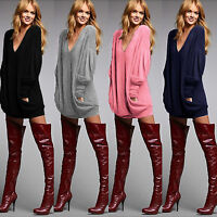 Women Winter Knitted Jumper Sweater Top Pullover Sweatshirt Long Tops Mini Dress