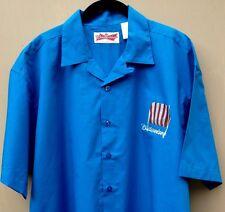 Vintage Budweiser Casual Camp Shirt Men'S Large Red Cap Rockabilly Retro