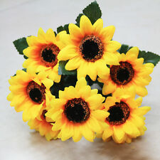 7 Heads Artificial Sunflower Bouquet Home Garden Party Festival DIY Props 7cm