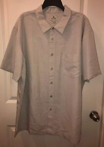 NWT Solitude Sand Men's Short Sleeve Button Down Shirt with Palm Tree Logo XL