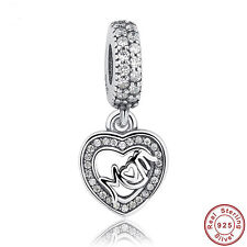 European S925 Sterling Silver Charm Love Mom Clear CZ Heart Charm fit Bracelet