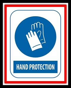 HAND PROTECTION WEAR GLOVES HEALTH AND SAFETY WARNING METAL TIN WALL SIGN 1994