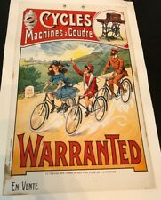 Original Vintage Poster Cycles Machines à Coudre Warranted ca. 1910