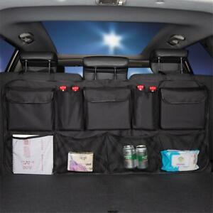 Car Seat Back Bag Multi-Pocket Organizer Storage Phone Tissue Holder Black