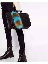 New Zara Blue & Gray Fur Bag Charm
