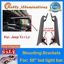 "50"" LED Light Bar Upper Windshield Mount Brackets 97-06 for Jeep Wrangler TJ LJ"