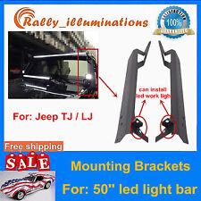 "50"" LED Light Bar Upper Windshield Mounting Brackets 97-06 Jeep Wrangler TJ SALE"