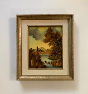 Oil Painting European Landscape Castle Seascape Signed Vtg