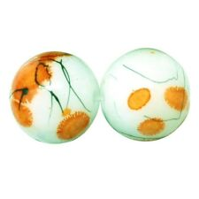 1 Strand of Glass Drawbench Painted Baked Beads Orange