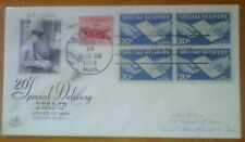 First day of issue, 1954 , 20c Special Delivery, block of 4, # E20