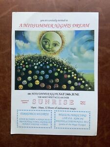 Sunrise 'A Midsummer Night's Dream' June 1989 Rave Flyer In Excellent Condition