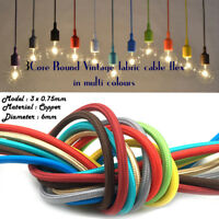 3 Core Braided Fabric Cable Lighting Lamp Flex Vintage Multible Colours