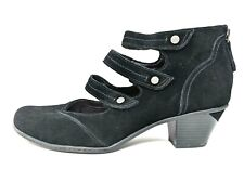 Earth Serano Triple Mary Jane Strap Black Suede Mary Jane Heel Bootie Womens 11B