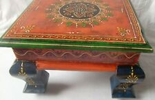 Wooden painted chowki small table handmade indian wood bajot folk art furniture