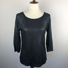 Joie S Small Cyndi Top Blouse Shirt Metallic Linen Black Silver