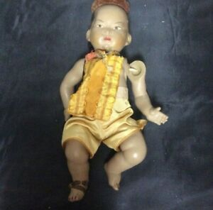 Asian baby doll with queue cue celluloid Le Minor Dolls Petitcollin France ds17