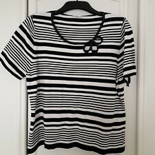 Country Casuals Top Size XL (18-20) Petite Black and White Stripe Top