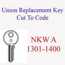 Union Replacement Filing Cabinet Key Cut to Code NKW A 1301-1400