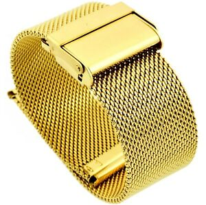 20mm Stainless Steel  Mesh Milanese Watch Band Bracelet Color Yellow Gold PVD