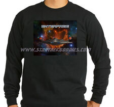 Star Trek: Enterprise LONG SLEEVE T-SHIRT NX-01 Bursting Thru Space on Black XL!