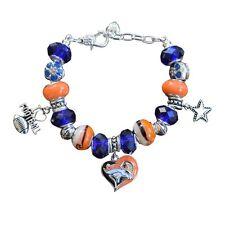 Denver Broncos Charm Bracelet, Broncos Jewelry, Broncos Gift, Football Bracelet