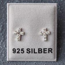 Neu 925 Silber OHRSTECKER Kreuz SWAROVSKI STEINE kristallklar/crystal OHRRINGE