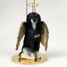 Saluki Dog Angel Ornament Handpainted Resin Figurine Christmas puppy Collectible