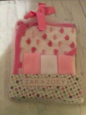 Zak & Zoey Infant Baby Girl Hooded Towel & 3 Washcloths-Pink & White Whales New