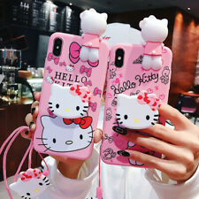 3D Cute Hello Kitty Doll Stand Strap Soft Case Cover for Samsung S20+ Note 10+
