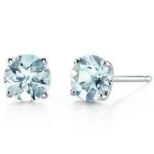 1.35 ct Round Blue Aquamarine Stud Earrings in 14K White Gold